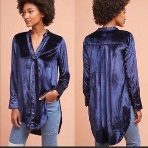 Anthropologie velvet tunic shirt
